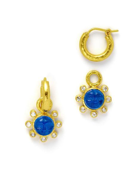Man-in-the-Moon Intaglio Earring Pendants
