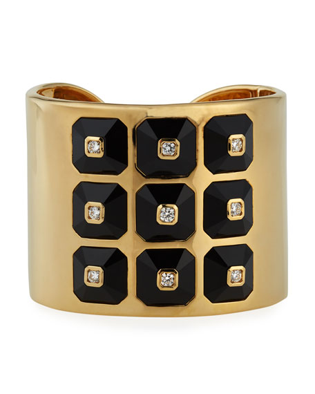 18k Pyramide Collection Onyx & Diamond Cuff