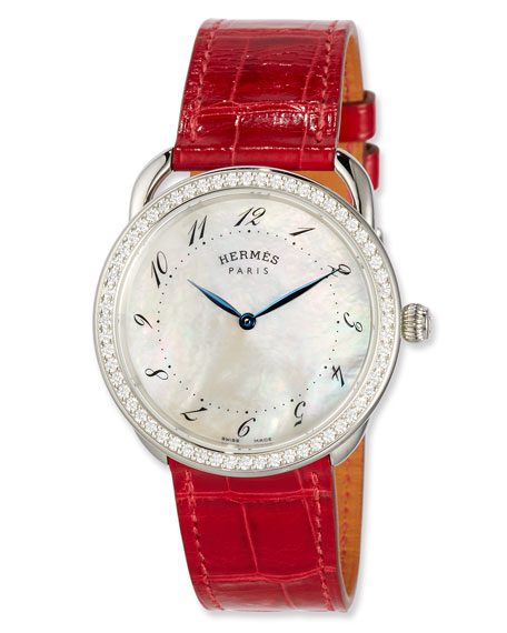 Arceau Set with Diamonds & Interchangeable Smooth Ember on an Alligator Strap