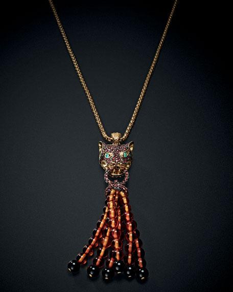 Classic Chain 18K Gold Lava Macan Tassel Necklace