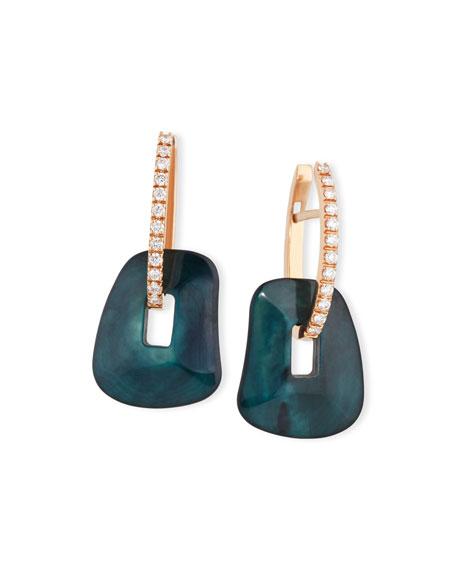 Puzzle Diamond-Trimmed 18K Rose Hoop Earrings, Green/Black/White