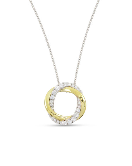 Frederic Sage 18K Gold Interlocking Halo Diamond Pendant Necklace