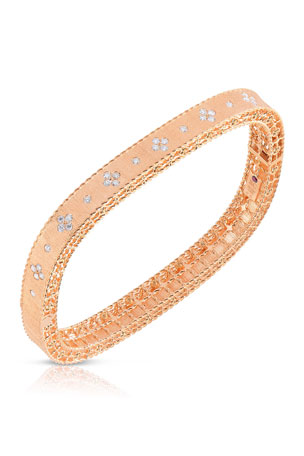 Roberto Coin Princess 18K Rose Gold Narrow Diamond Bangle