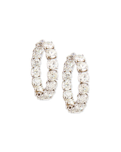 18K White Gold Perfect Diamond Hoop Earrings