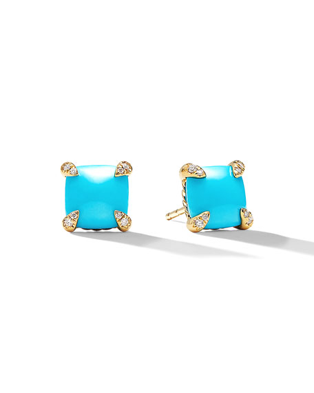 Châtelaine 8mm Turquoise & Diamond Earrings
