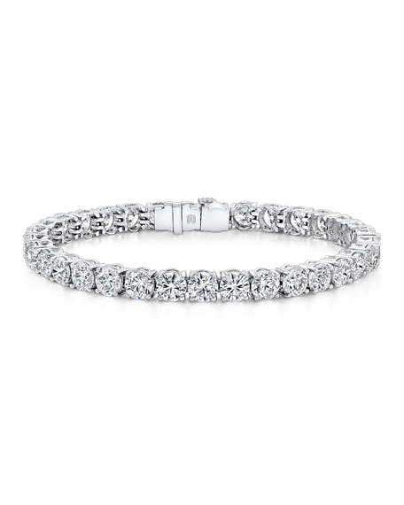 Rahaminov Platinum Round-Cut Diamond Line Bracelet, 27.02 TCW