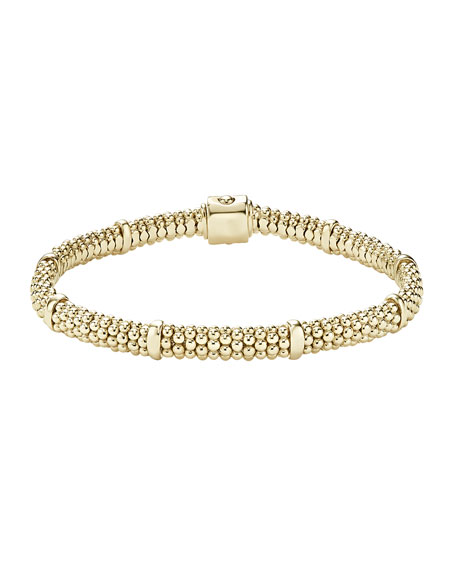 18k Gold Caviar Rope Bracelet, 6mm and Matching