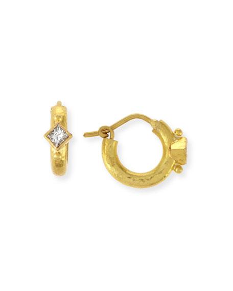 19K Baby Hammered Hoop Earrings with Princess-Cut Diamonds