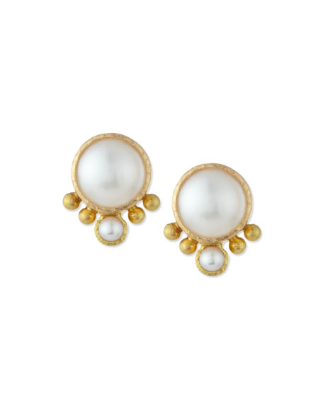 Image 1 of 2: Elizabeth Locke Mabe Pearl Stud Earrings