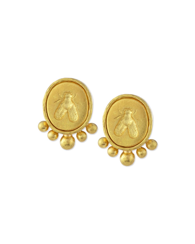 Small Bee 19k Gold On Earrings