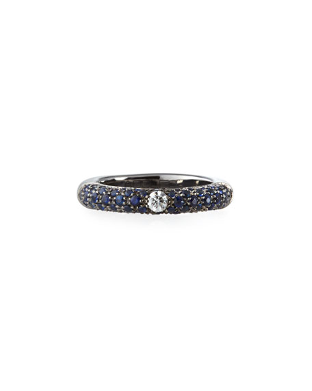 Single Diamond & Pave Blue Sapphire Ring, Size 6