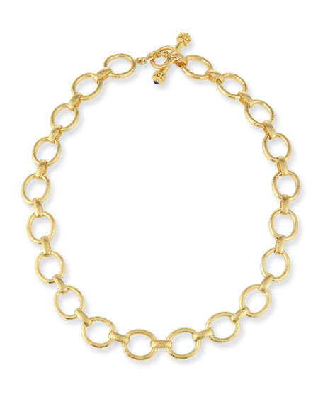 Image 1 of 2: Elizabeth Locke 19K Gold Smooth Link Necklace, 17""