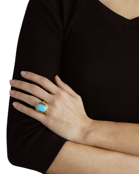 Elizabeth Locke 19K Gold Cushion-Cut Turquoise Ring with Diamonds, Size 6.5