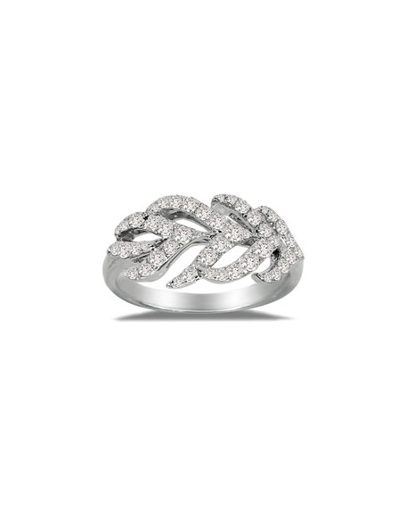 Image 1 of 2: SUTRA 18K White Gold & Diamond Feather Ring, Size 7