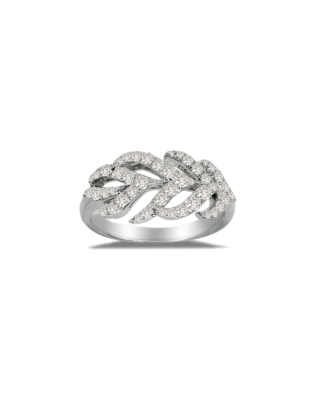 SUTRA 18K White Gold & Diamond Feather Ring, Size 7