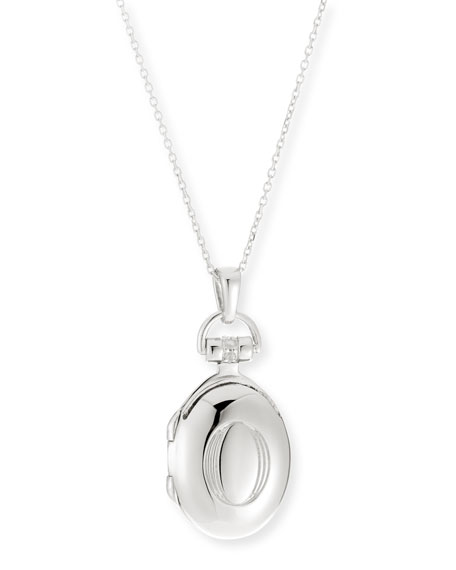 "Petite Sterling Silver Initial ""O"" Locket Necklace"