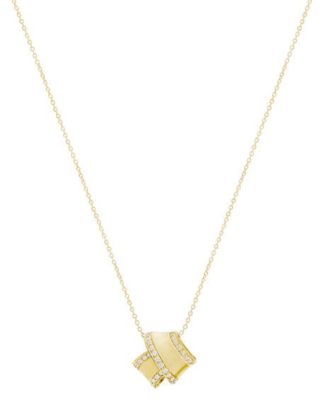 Carelle 18K Yellow Gold Knot Pendant Necklace with Diamonds PT4CNIcYG