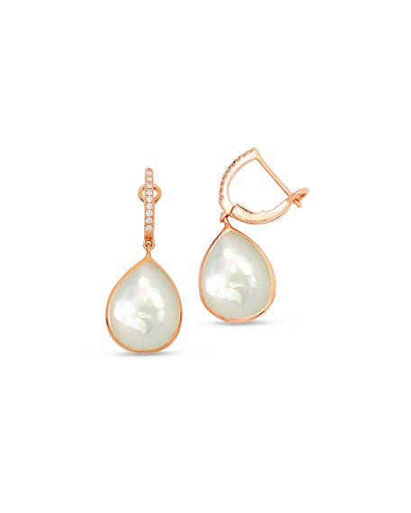 Frederic Sage White Mother-of-Pearl Drop Earrings in 18K Rose Gold
