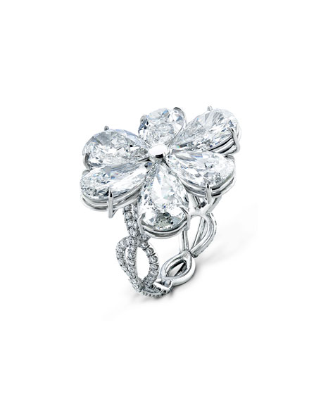 Modern Pear-Shaped Diamond Flower Ring, Size 6.5