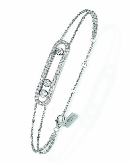 Move Pave Diamond Station Chain Bracelet in 18K White Gold