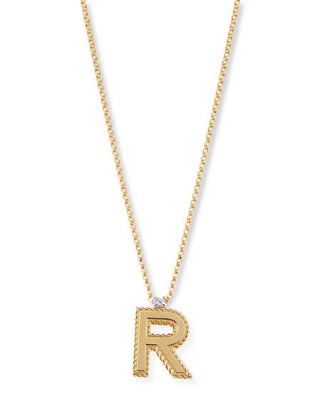 Roberto Coin Princess 18K Yellow Gold Diamond Initial Necklace, R