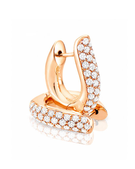 Pave Diamond Hoop Earrings in 18K Rose Gold