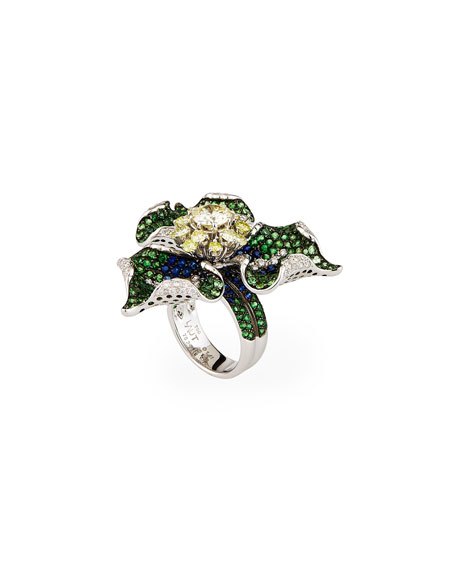 Alexander Laut 18k White Gold Pave 3-Petal Ring w/ Mixed Stones