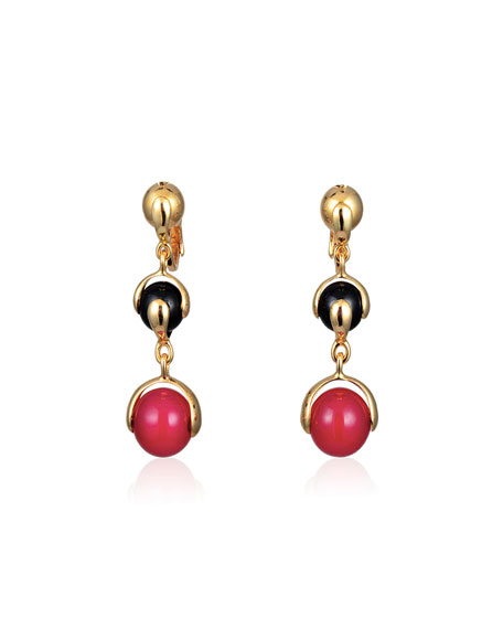 Red Agate & Black Spinel Three-Drop Earrings
