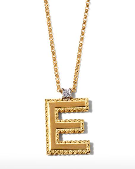 Roberto Coin Princess 18K Yellow Gold Diamond Initial Necklace, E