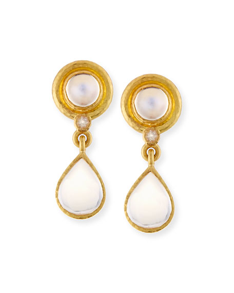 19K Moonstone Drop Earrings