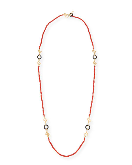 Image 1 of 2: Miseno Sea Leaf Long Beaded Coral Necklace with Diamonds