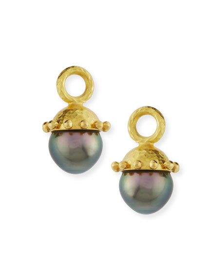 Elizabeth Locke Black Pearl Earring Pendants
