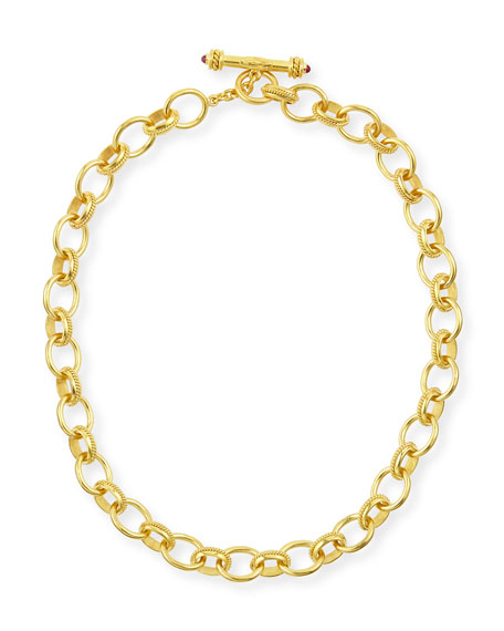 """Elizabeth Locke Lampedusa 19k Gold Link Necklace, 17""""L"""