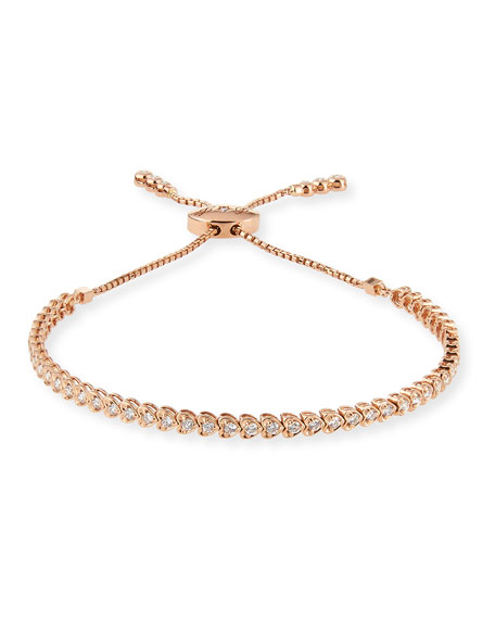 Diamond Heart Line Bracelet in 18K Rose Gold