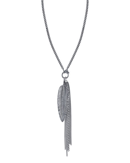 Sheryl Lowe Feather Fringe Pendant Necklace with Diamonds,