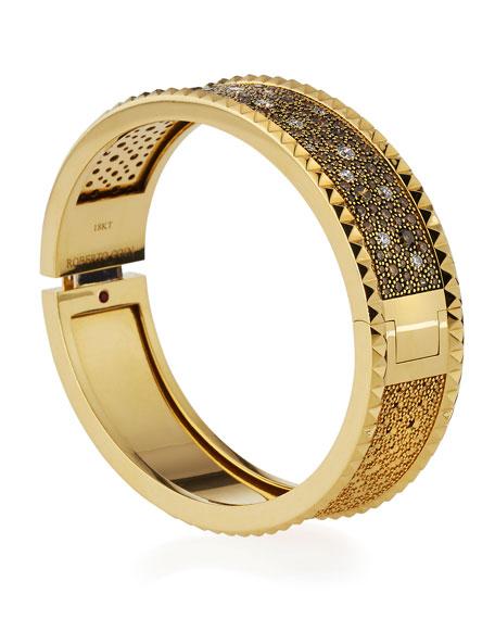 ROBERTO COIN ROCK & DIAMONDS Medium Bangle in 18K Yellow Gold, 3.81 tdcw