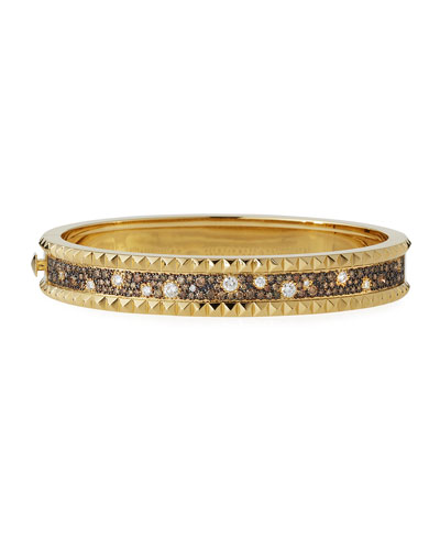 Rock & Diamond Small Bangle in 18K Yellow Gold, 1.49 tdcw