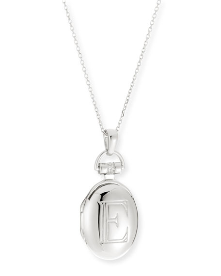 "Petite Sterling Silver Initial ""E"" Locket Necklace"