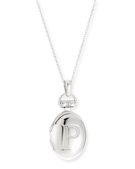 "Petite Sterling Silver Initial ""P"" Locket Necklace"