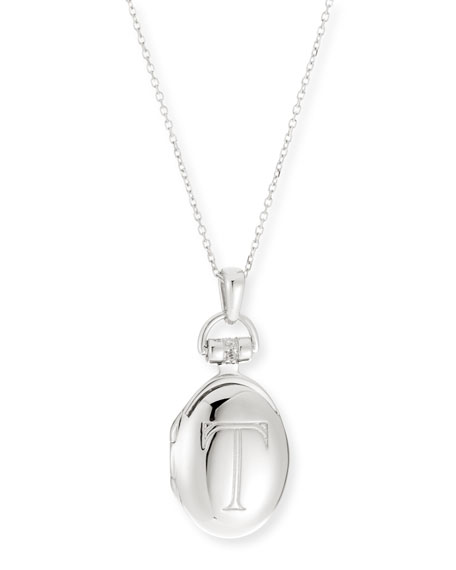 "Petite Sterling Silver Initial ""T"" Locket Necklace"