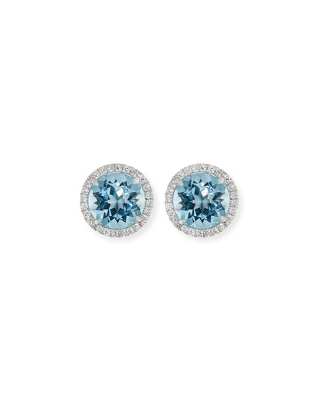 Image 1 of 2: Frederic Sage 18K White Gold Blue Topaz Diamond Halo Stud Earrings