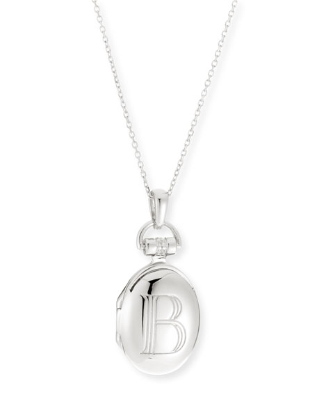"Petite Sterling Silver Initial ""B"" Locket Necklace"