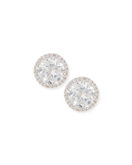 Frederic Sage White Topaz & Diamond Stud Earrings