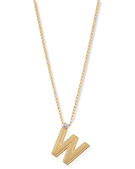 Roberto Coin Princess 18K Yellow Gold Diamond Initial Necklace, W