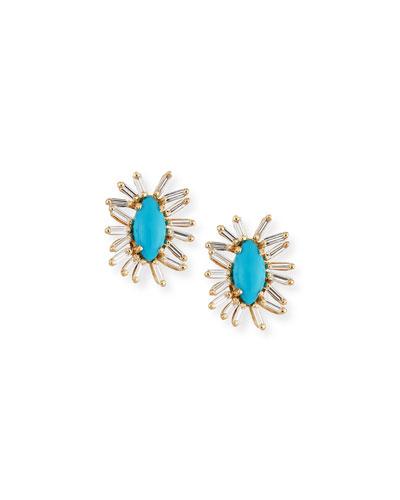 Turquoise & Baguette Diamond Evil Eye Stud Earrings