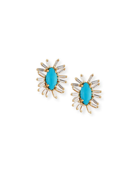 Turquoise & Baguette Diamond Evil Eye Stud Earrings