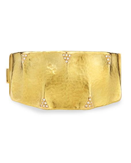 Dune 18k Gold and Diamond Cuff Bracelet