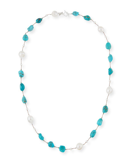 Margo Morrison Turquoise & Baroque Pearl Station Necklace