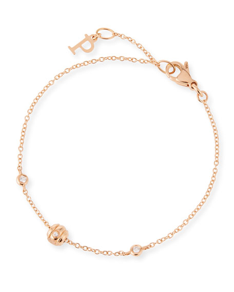 Possession 18K Red Gold Chain Bracelet with Diamonds