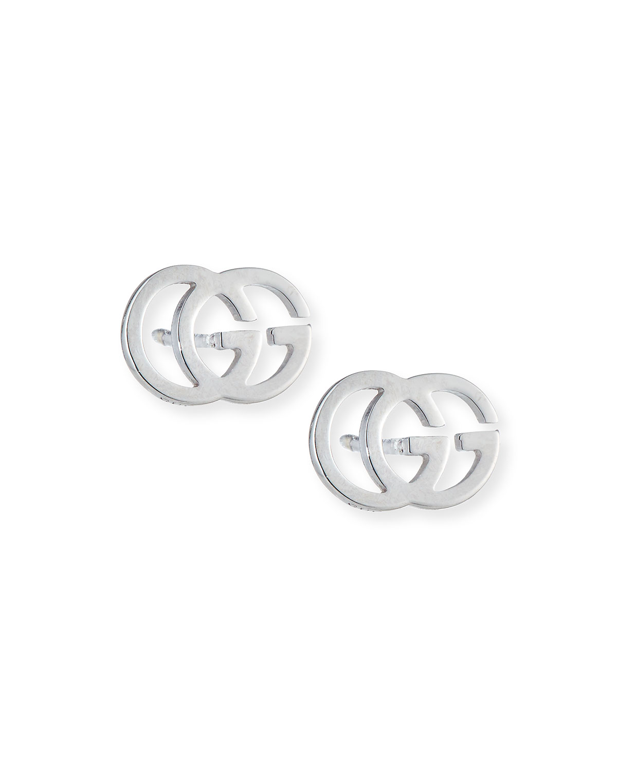 3a498a4691e99 Gucci 18K White Gold Running G Stud Earrings